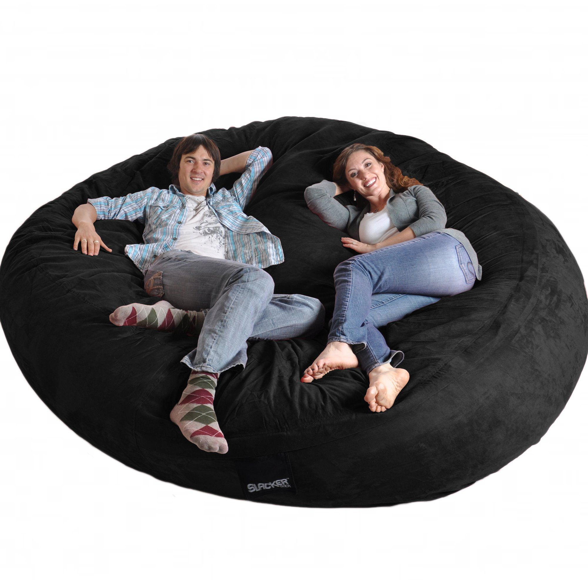 8' Round Black SLACKER Sack Biggest Foam Bean Bag
