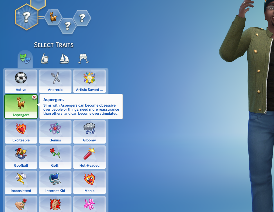 Mod The Sims - Aspergers Custom Trait (Cats and Dogs Compatible