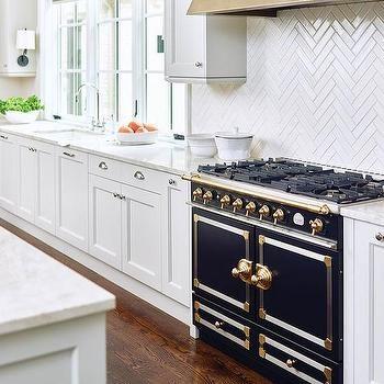Thin White Herringbone Kitchen Backsplash Tiles