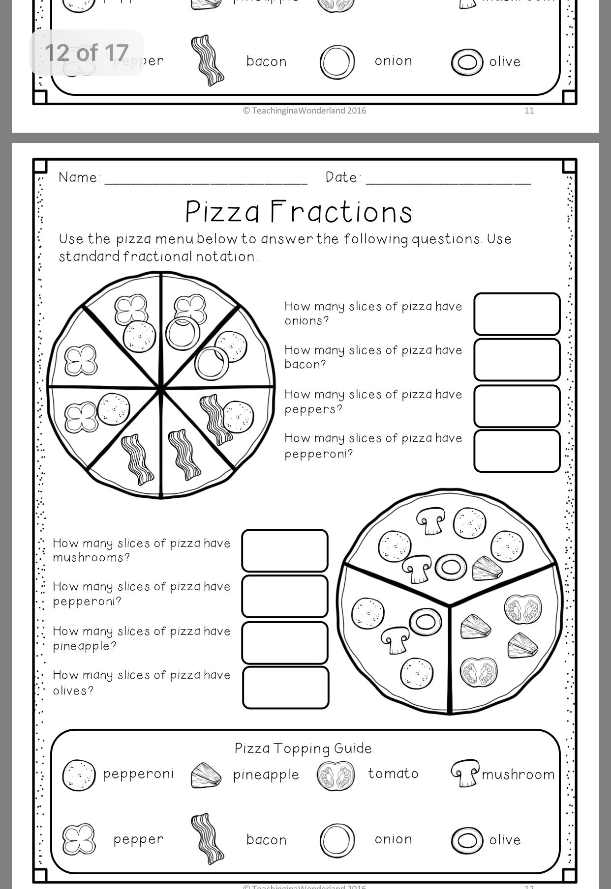 Pin By Ann Parisher On Math Fraction Activities Pizza Fractions Fractions [ 1809 x 1242 Pixel ]