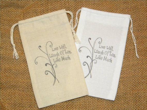 50 Wedding Favor Bags Muslin 3 X 5 Live Laugh Love Engagement Bridal Shower Anniversary Birthday Retirement Baby Tea