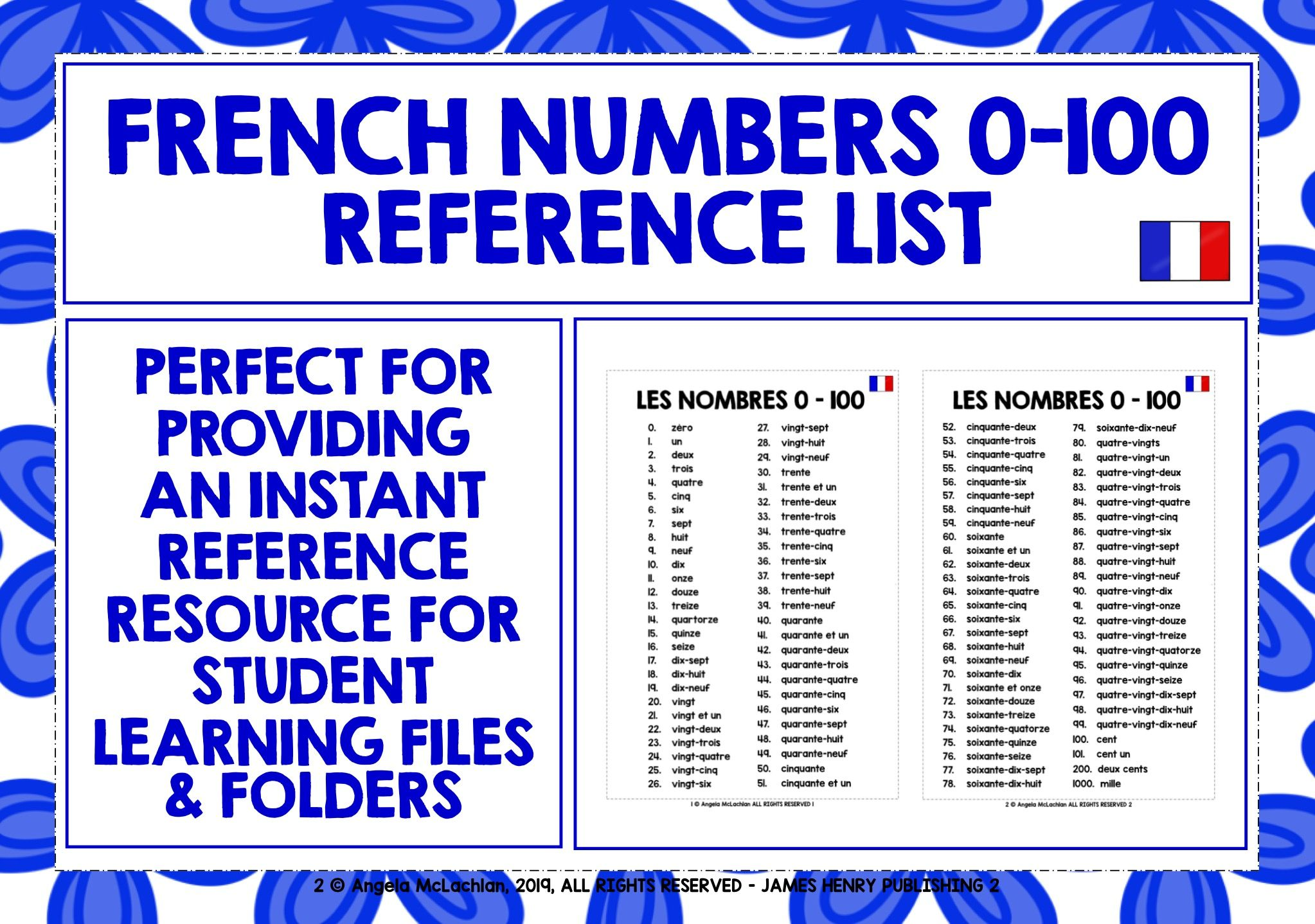 Frenchnumbers Frenchvocabulary Frenchreferencemat