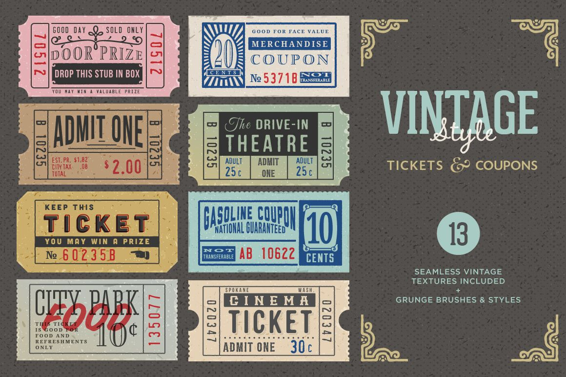 Vintage Tickets Coupons Bundle 티켓 디자인 기념일 로고 명함