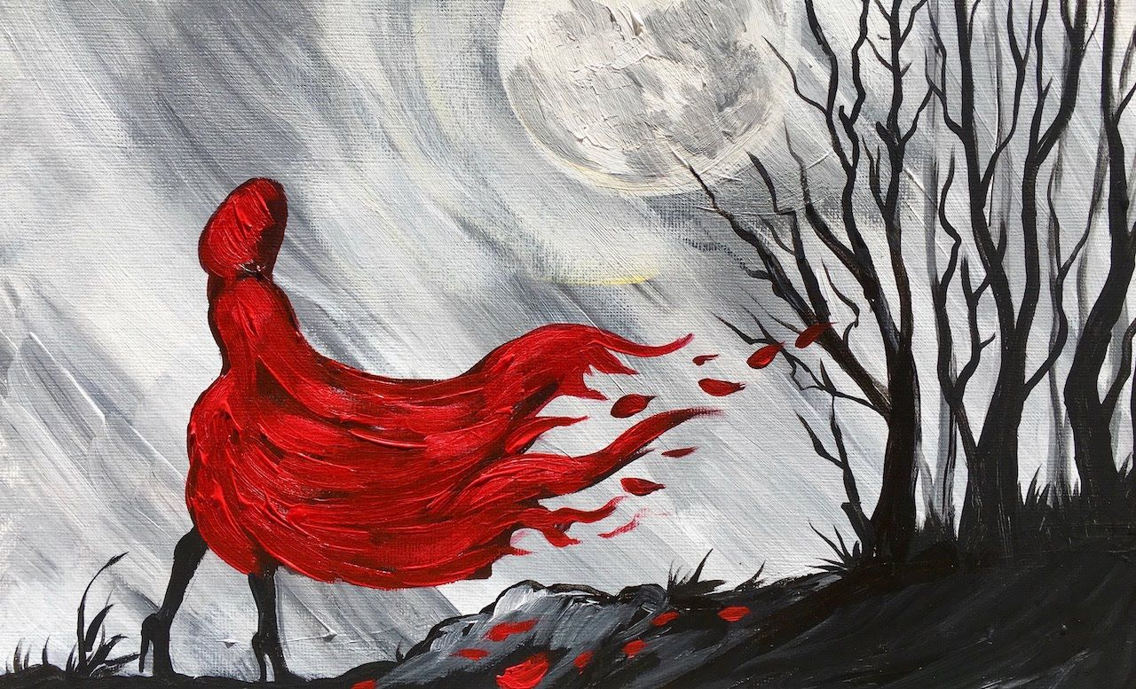 Little red riding hood step by step beginner learn to for Learn to paint with acrylics