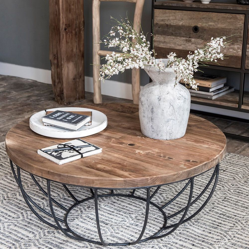 Plateau Massif Recycl Table Basse Metal Pied Teck Cmtable