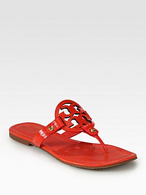 ddc7263554713 Tory Burch Miller Patent Leather Thong Sandals