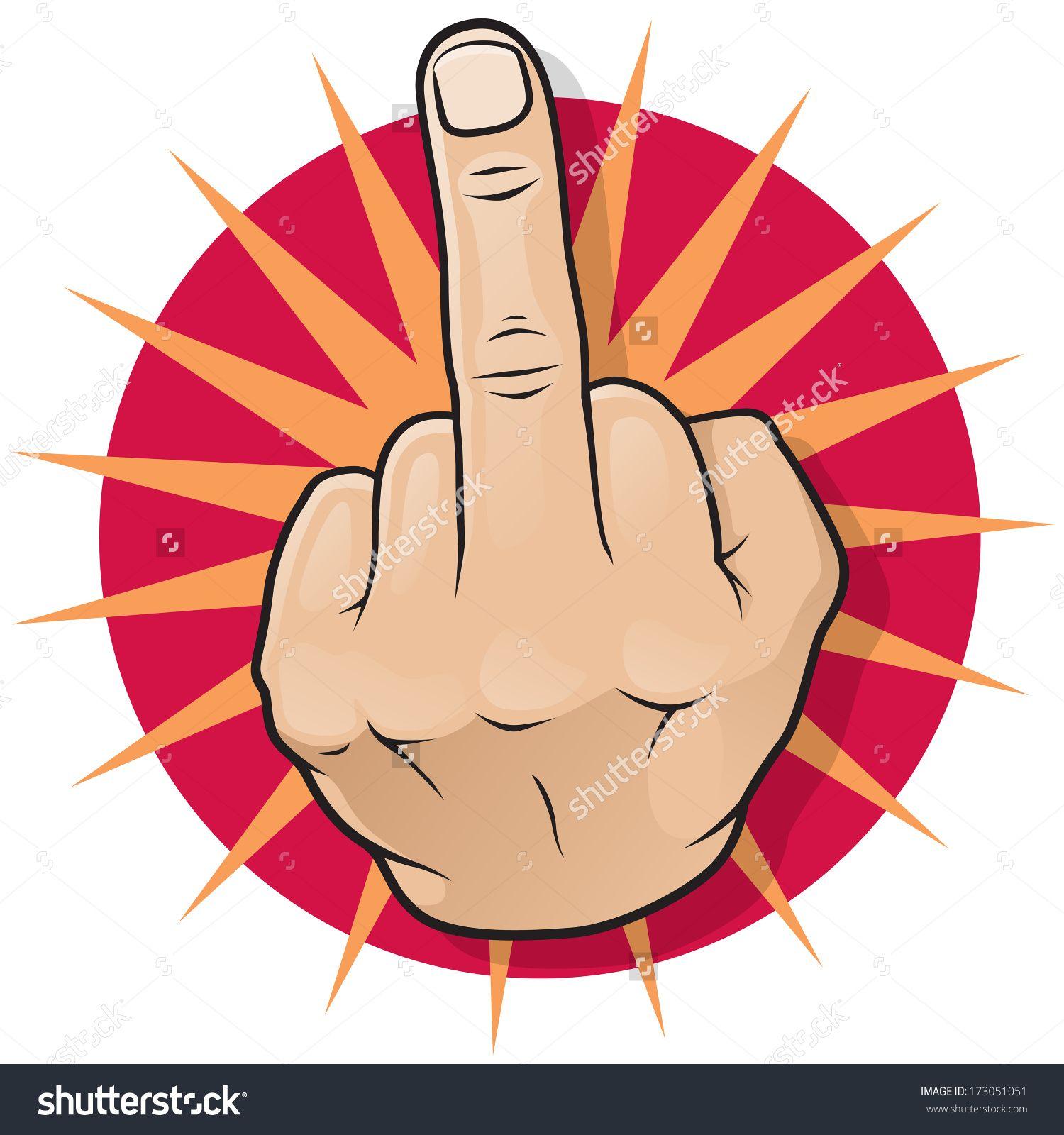 Vintage Pop Art Middle Finger Hand Sign Great Illustration Of Pop