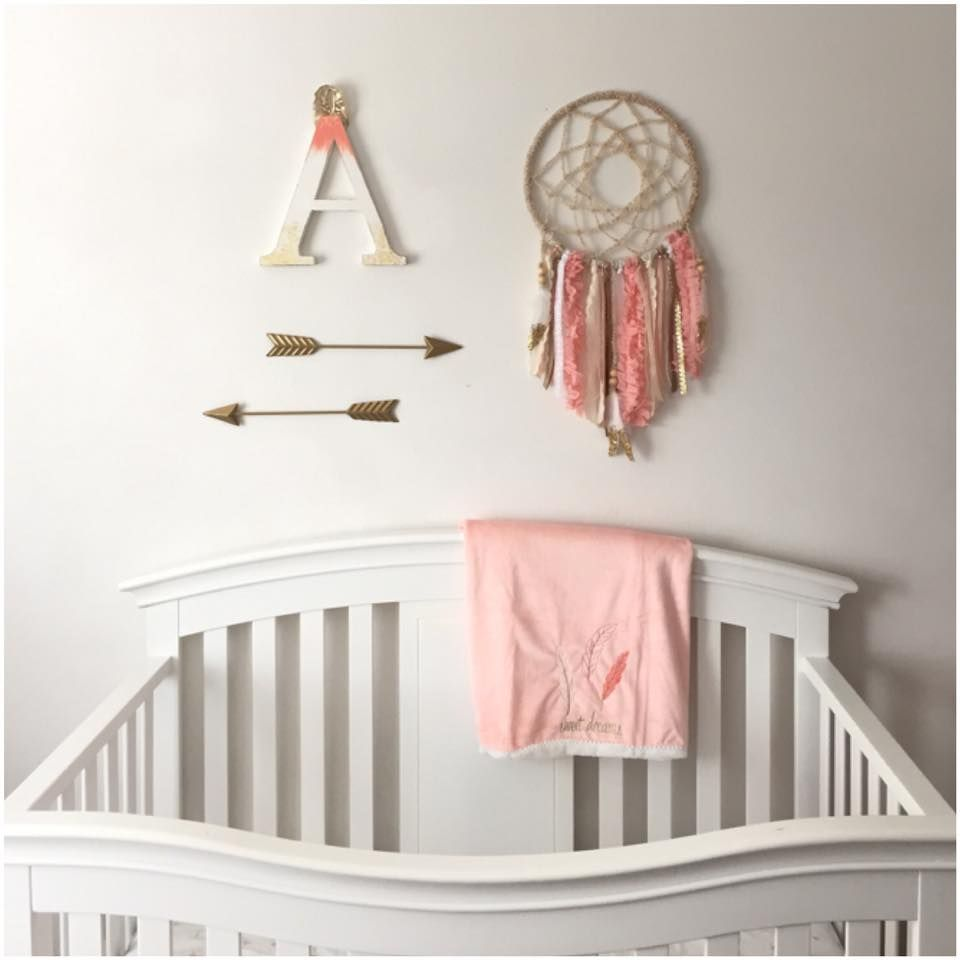 Coral & Gold Dream Catcher & Arrows for Baby Girl Nursery ...