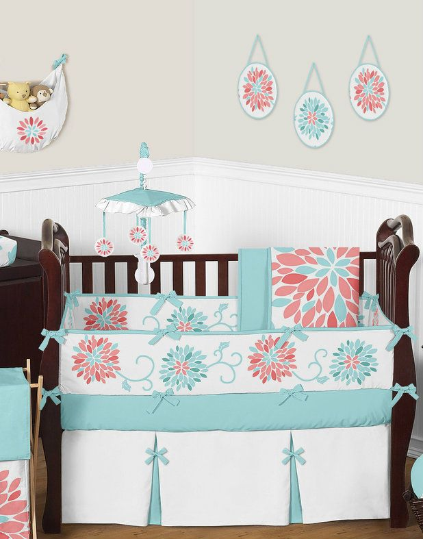 Jojo Floral Coral and Turquoise Baby Girl Crib Bedding Set. Emma Turquoise and Coral Baby Bedding 9pc Girls Floral Crib Set by