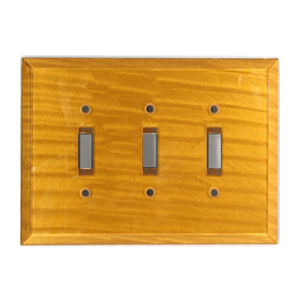 Beveled glass triple toggle switch plate in deep gold paint finish ...