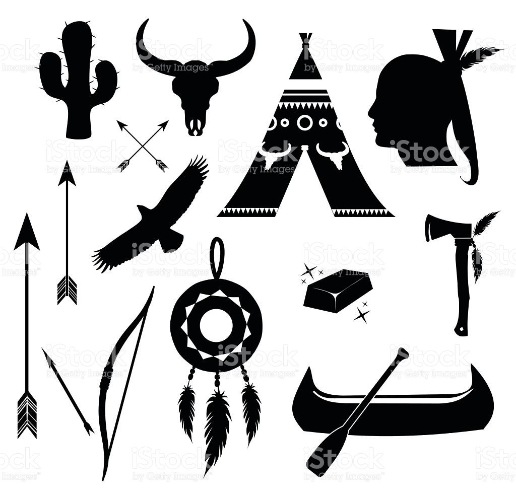 Apache Indian Icon Set Vector Illustration Isolated On White
