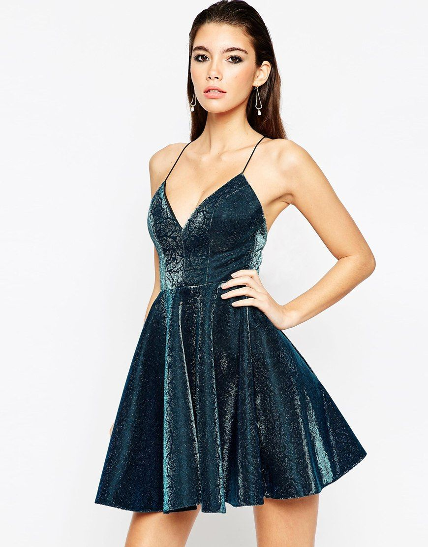 ASOS NIGHT Metallic Skinny Strap Mini Skater Dress at asos.com