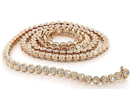 Mens 14K Rose Gold 78 Carat Total Diamond Necklace MENS