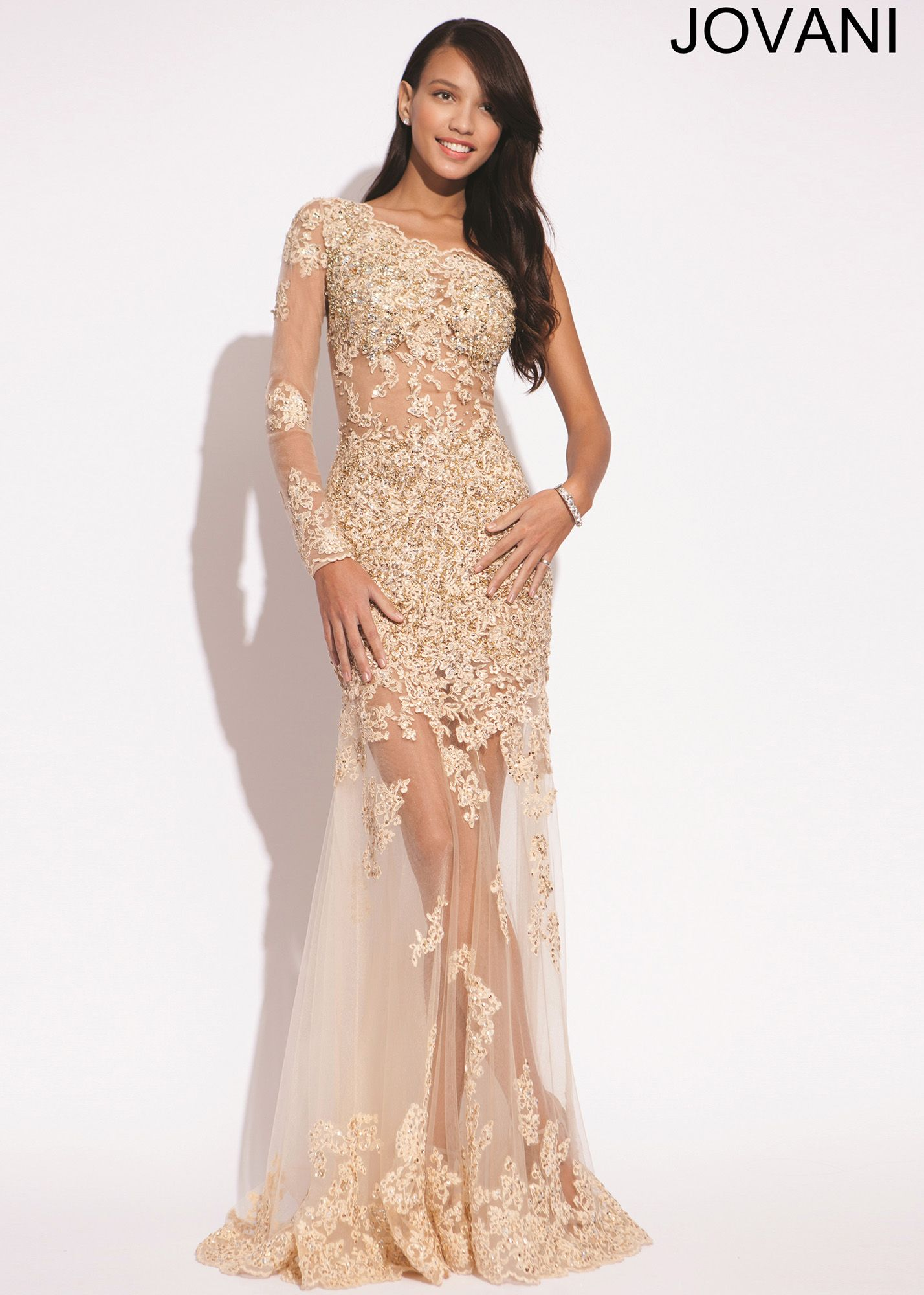 Jovani 73072 - Nude Lace One Shoulder Mermaid Prom Dresses Online ...