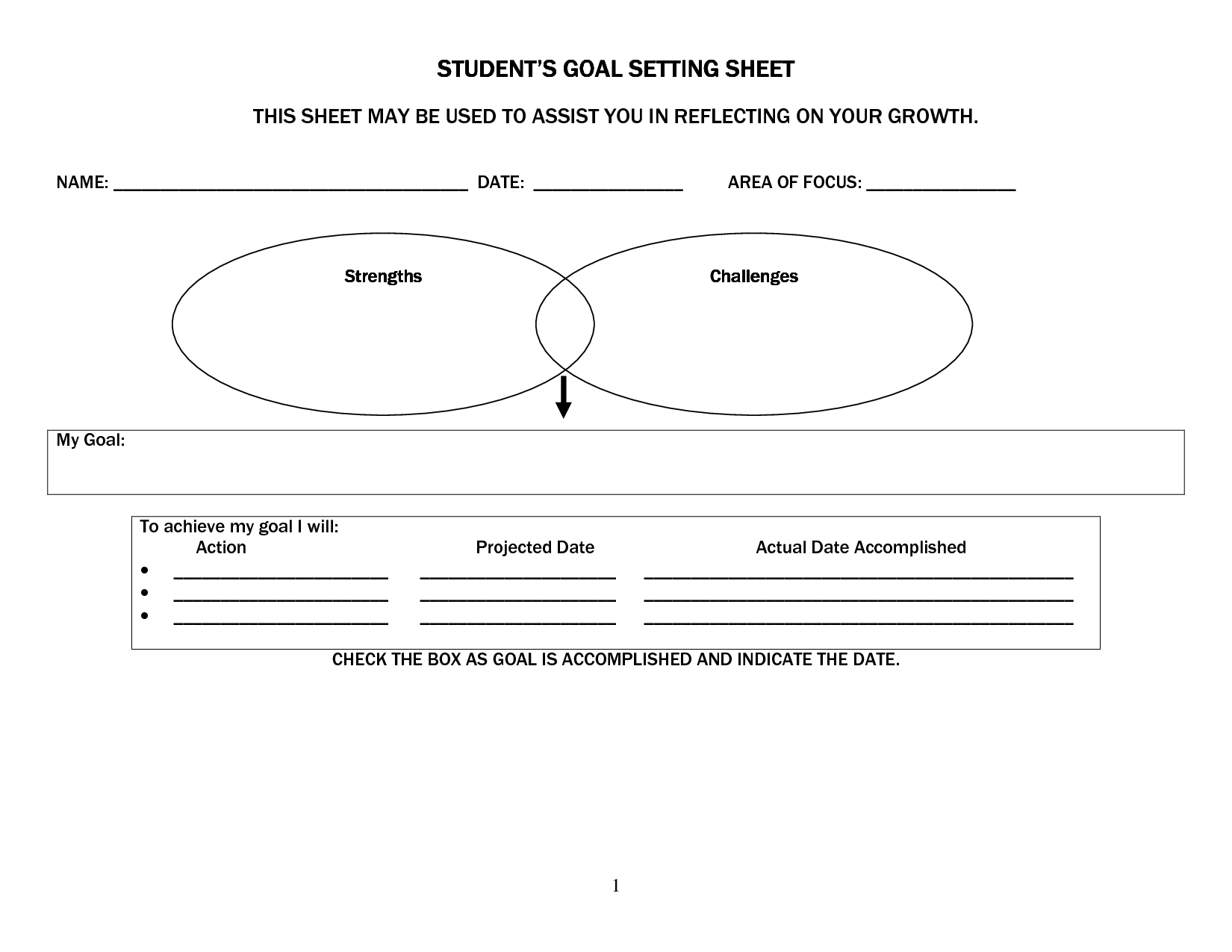 School Goal Setting Sheet