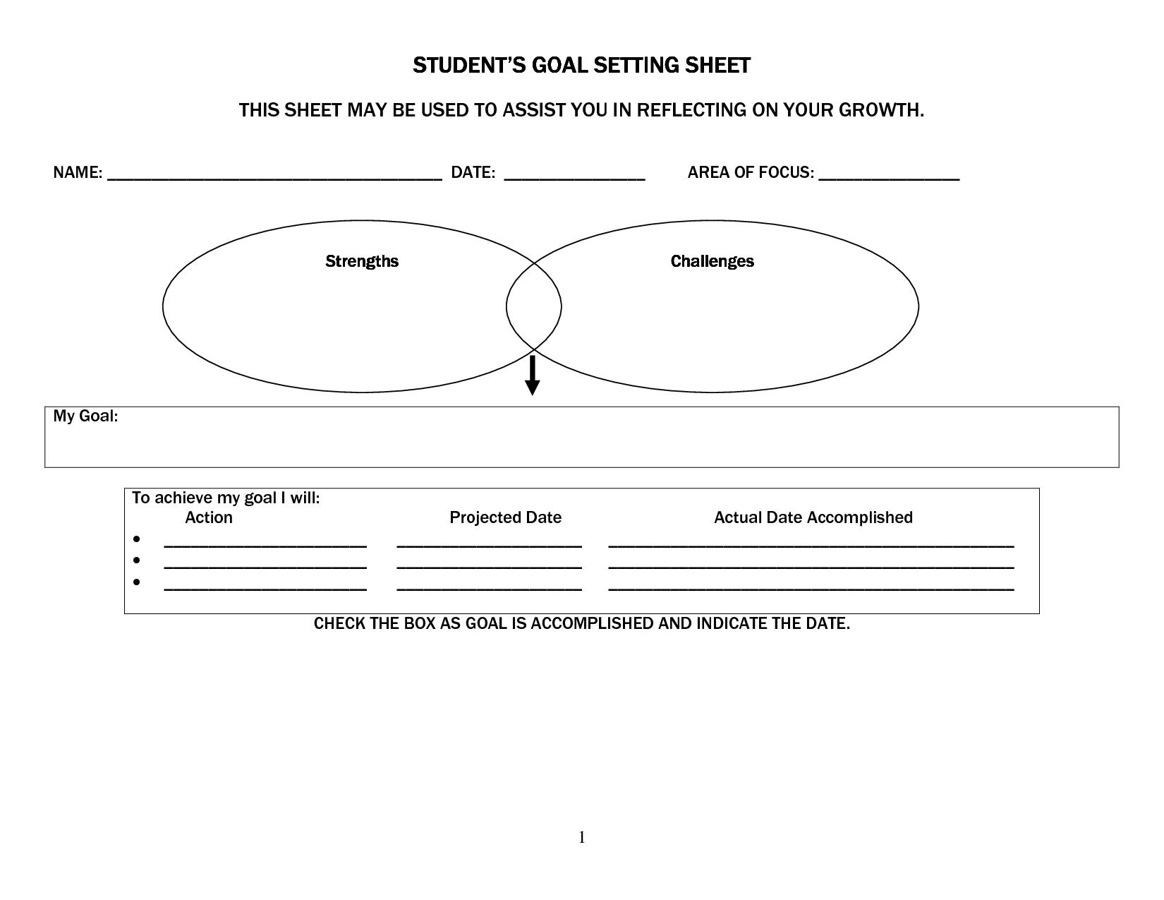 Goal Setting Sheets For High School Students Student Success Student Goals Goal Setting For Students [ 1275 x 1650 Pixel ]