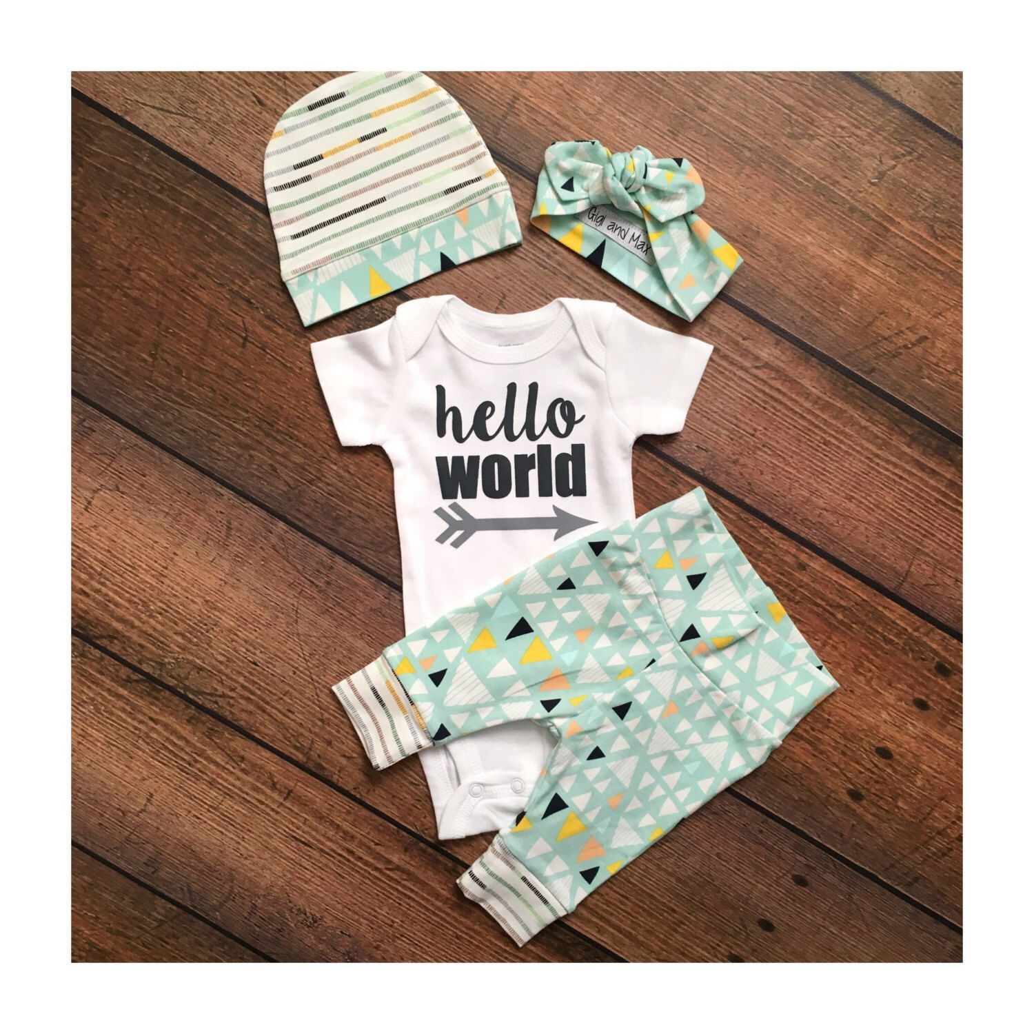 Newborn baby gender neutral coming home outfit tiny mountain theme going home set hello world baby