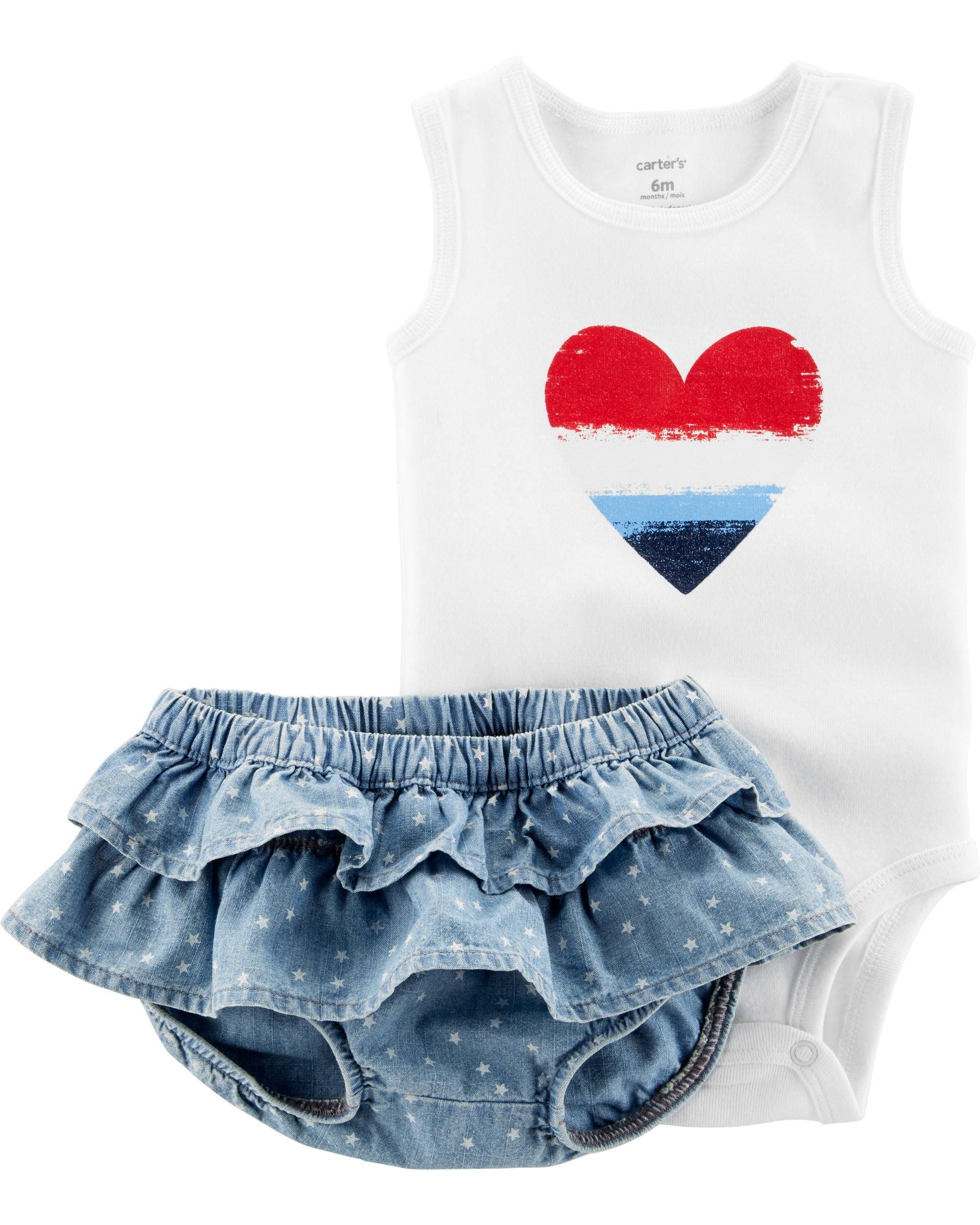 5ffb013b Baby Girl 2-Piece Fourth Of July Bodysuit & Diaper Cover Set | Carters.com