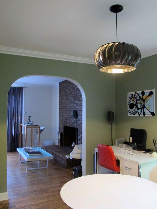 DIY Turbine Pendant Light Hanging From Ceiling In Living Room