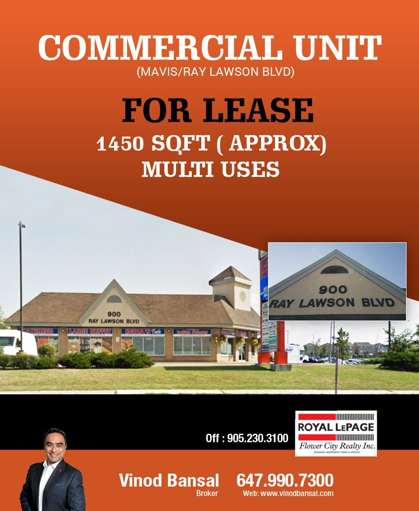 Commercial Unit Mavis Ray Lawson For Lease 1450 Sqft Approx Multi Uses Give Me A Call At 647 990 7300 Website Ht Estate Agent Brampton Real Estate Agent
