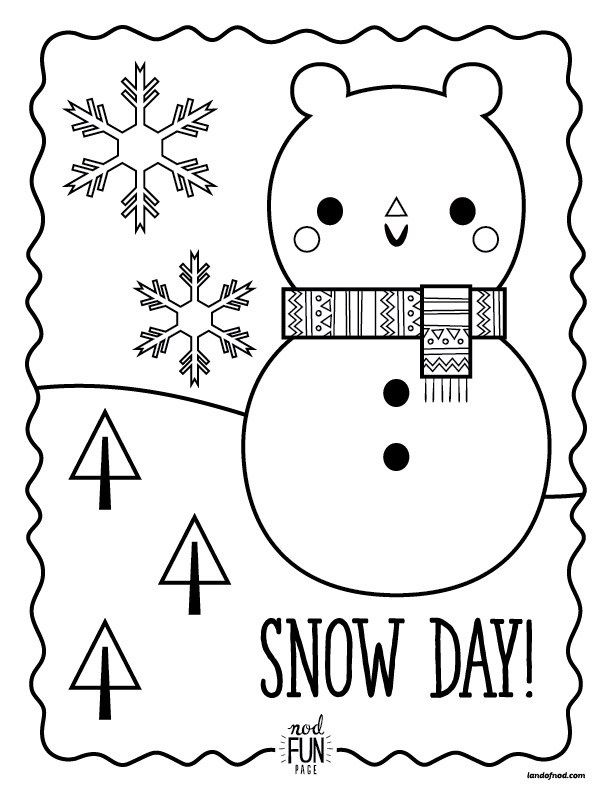 Nod Printable Coloring Pages Snow Day Printable Coloring Pages