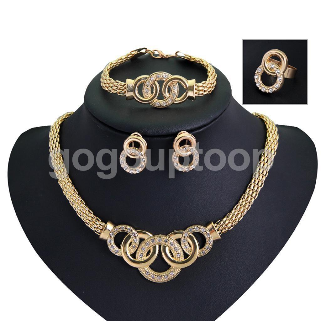 Pcs k gold plated jewelry sets crystal necklace bracelet earrings
