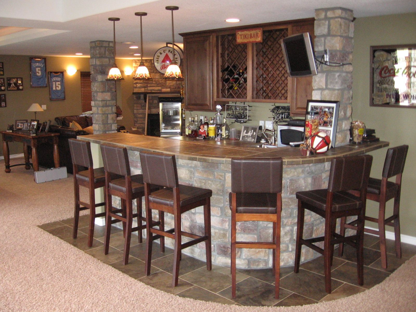 Home Design, Rustic Gray Stones Panels Round Shaped Home Island Bar And  Chairs Also Three Polished Bronze Pendant Island Lighting In Traditional  Basement ...
