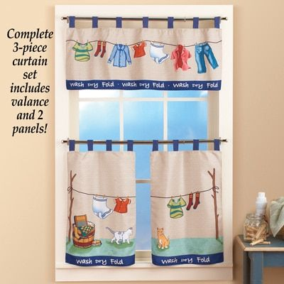 Colorful Laundry Washday Curtain Set Room Curtains Valance Solutions Collections