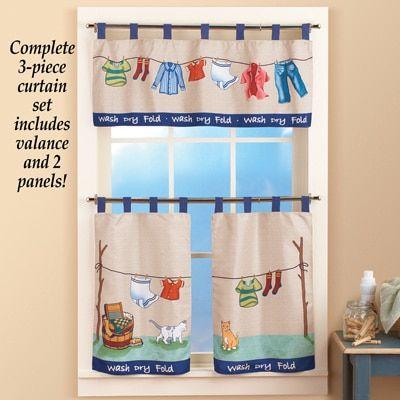 Colorful Laundry Washday Curtain Set Collections Etc Laundry Room Curtains Curtains Valance Curtains