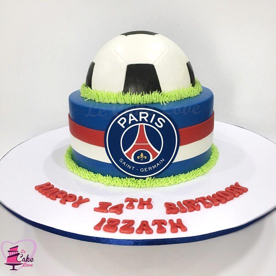 A Football Theme Birthday Cake For A Paris Saint German F C Psg Fan Get Your Unique Football Theme Birthday Football Themes Birthday Cake