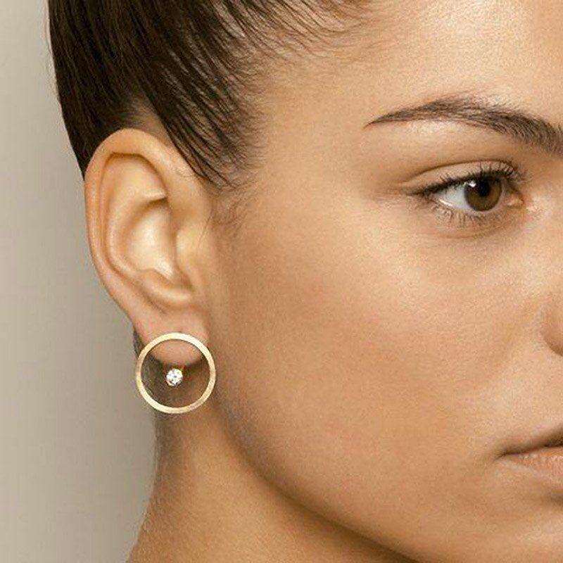 Nouveau mode élégante Femmes Géométrie Rond Mat Métal Ear Stud Boucles d/'oreilles Bijoux