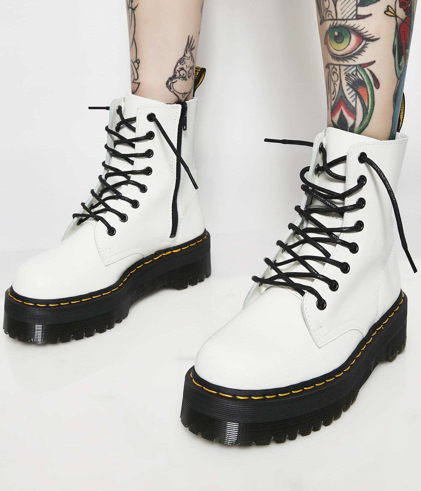 b28295071cc3a6 Dr. Martens White Jadon 8 Eye Boots  Drmartensstyle  womenofedm   festivalfashion  boots  white  whiteboots  boots