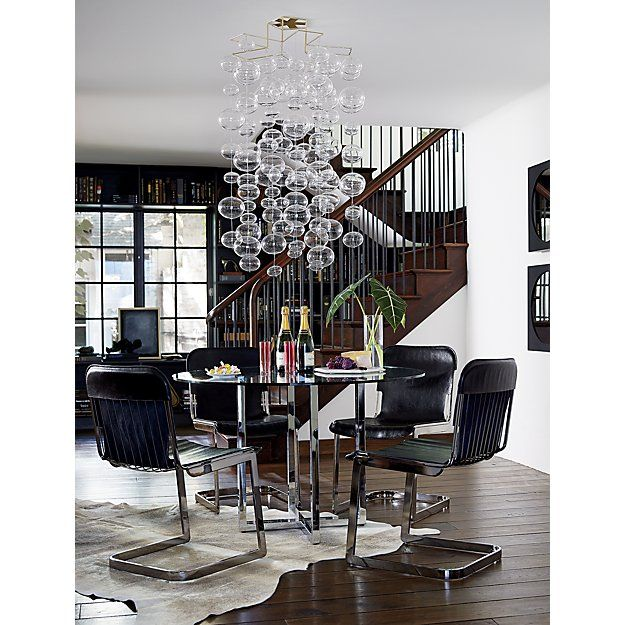 Hanging 21 Orbs Strand Cb2 Round Dining Table Light Cowhide Rug Round Dining