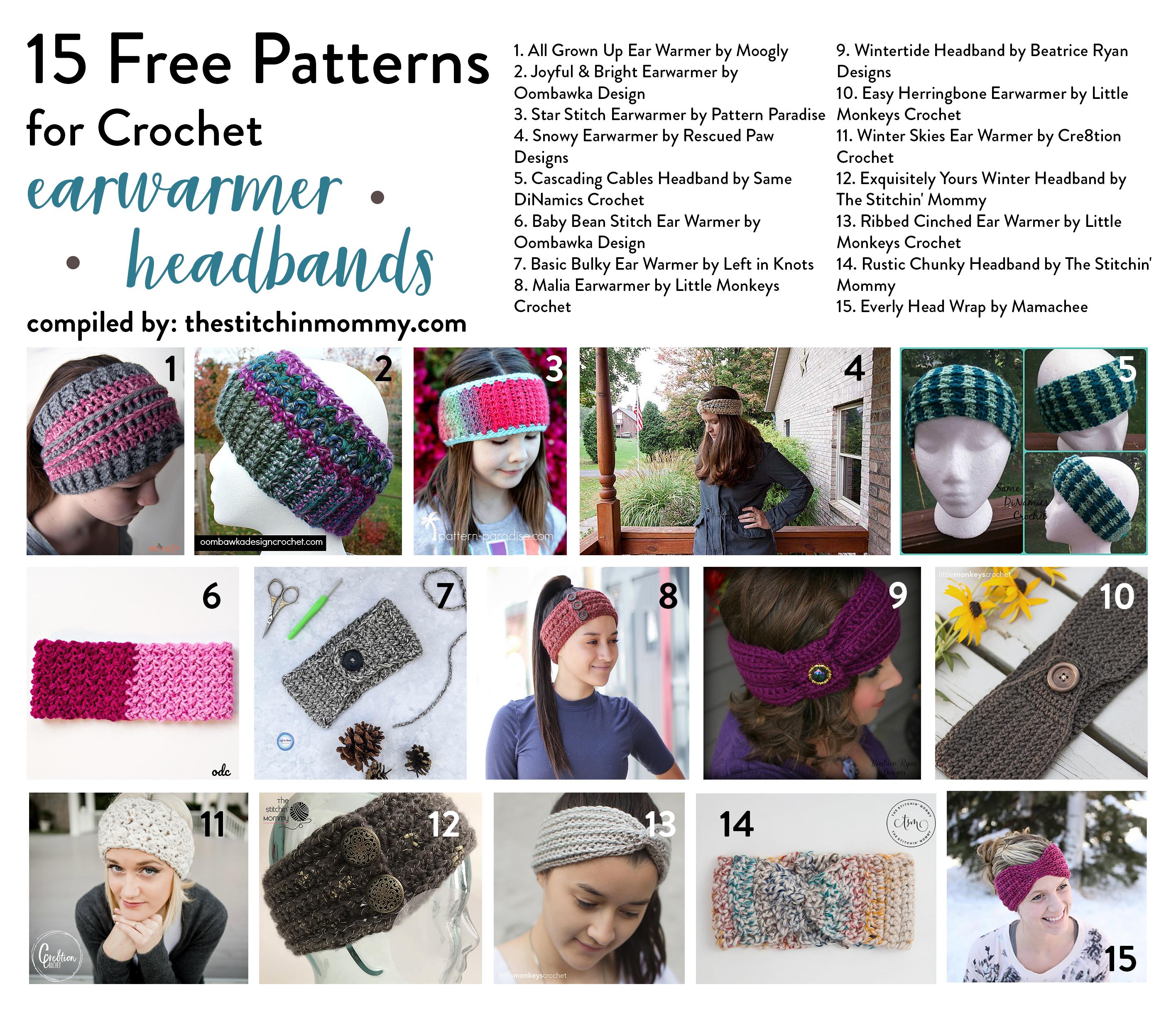 15 Free Patterns for Crochet Earwarmer Headbands