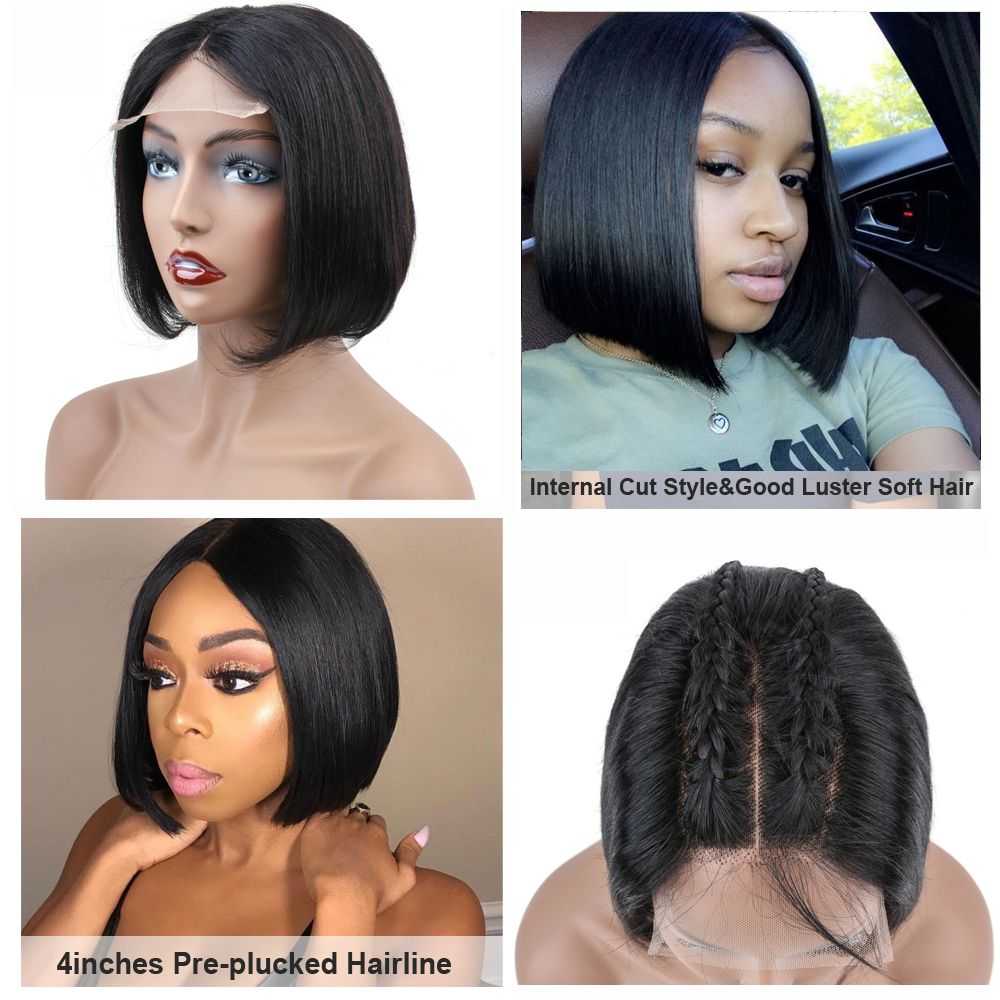 Sapphire Short Lace Front Human Hair Wigs Brazilian Human Hair Bob Wig Pre Plucked Hairline Blea Frontal Hairstyles Brazilian Straight Hair Straight Hairstyles