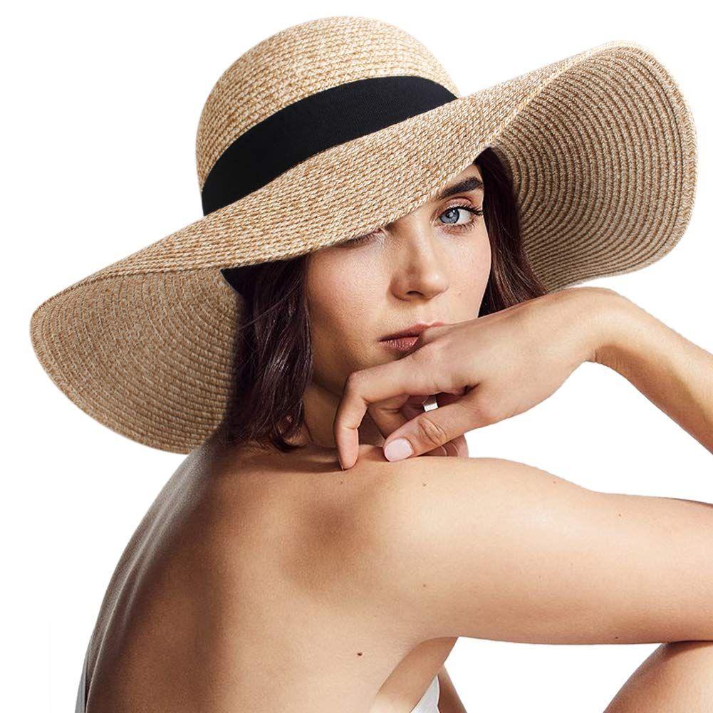 Womens Sun Straw Hat Wide Brim Upf 50 Summer Hat Foldable Roll Up Floppy Beach Hats For Women Floppy Beach Hat Hats For Women Sun Hats For Women