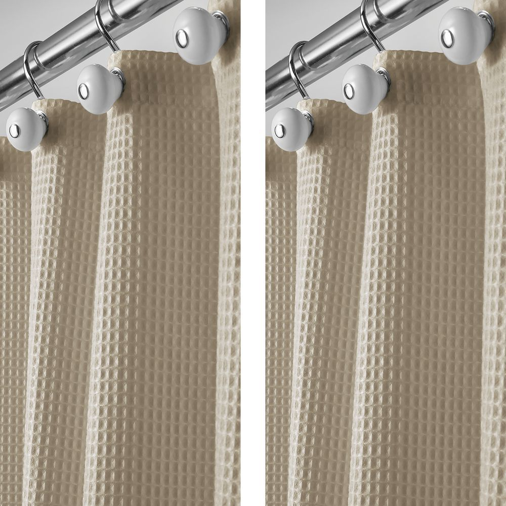 Long Waffle Weave Fabric Shower Curtain 72 X 84 Pack Of 2 In