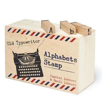 Typewriter Alphabet Wooden Stamps 64 Pack Letter