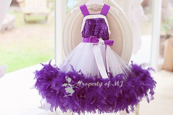 White and Purple Rosette Feather Flower Girl Tutu Dress http://www.tutusweetshop.com/item_882/White-and-Purple-Rosette-Feather-Flower-Girl-Tutu-Dress.htm