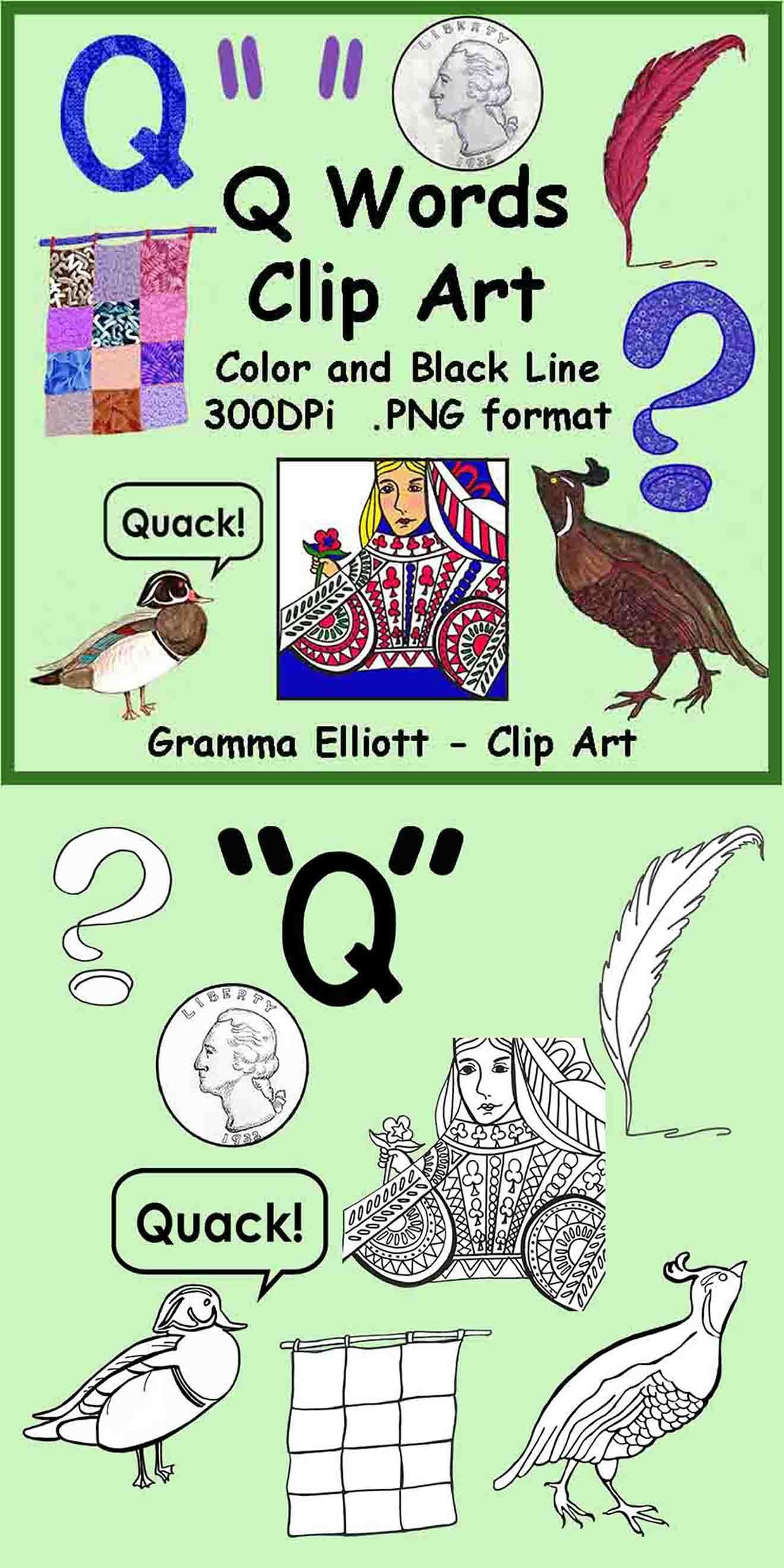 Q Words Realistic Clip Art Color and Black Line Clip art