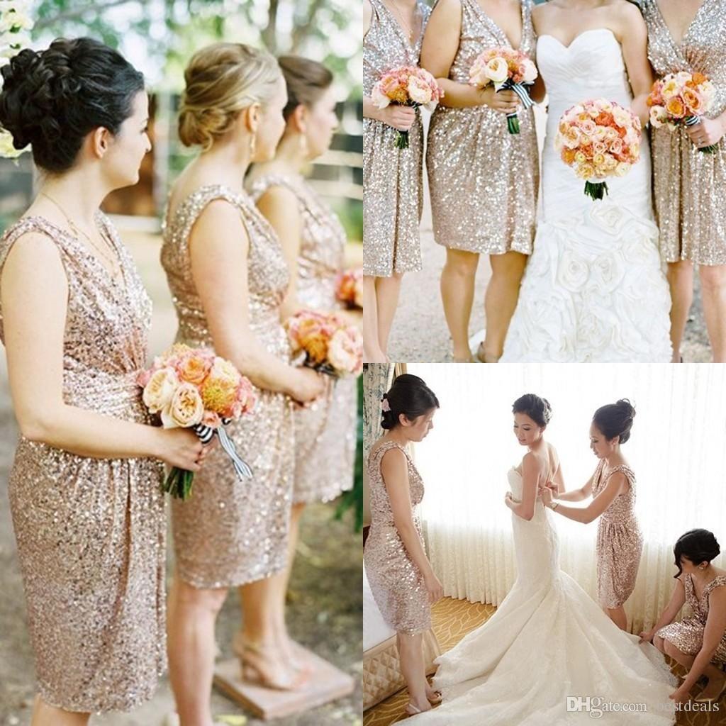 Gold sequins short bridesmaid dresses 2015 bling v neck ruffle bridesmaid ombrellifo Gallery