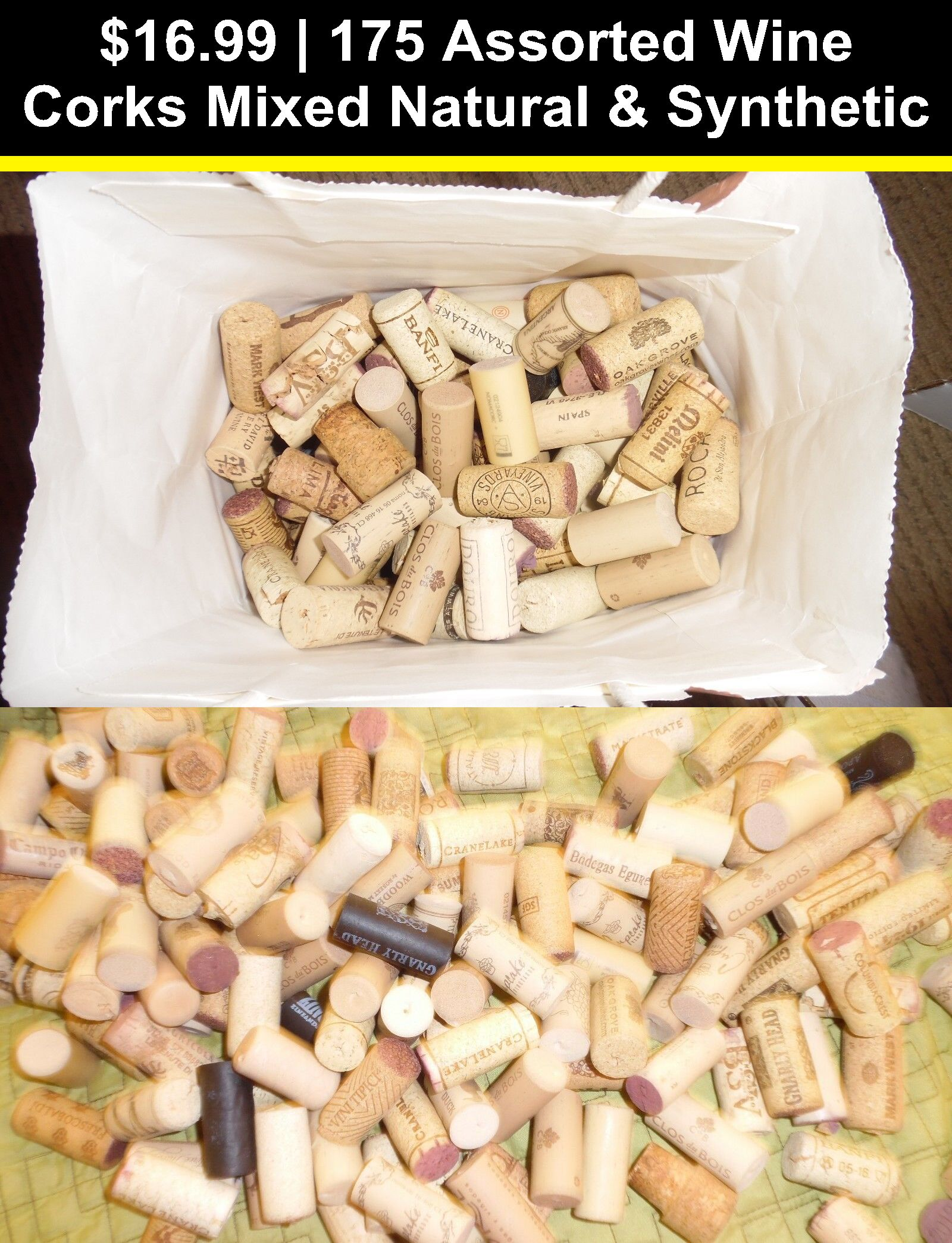 75 Assorted Natural Used Wine Corks ~No Synthetic No Champagne ~Good for crafts!