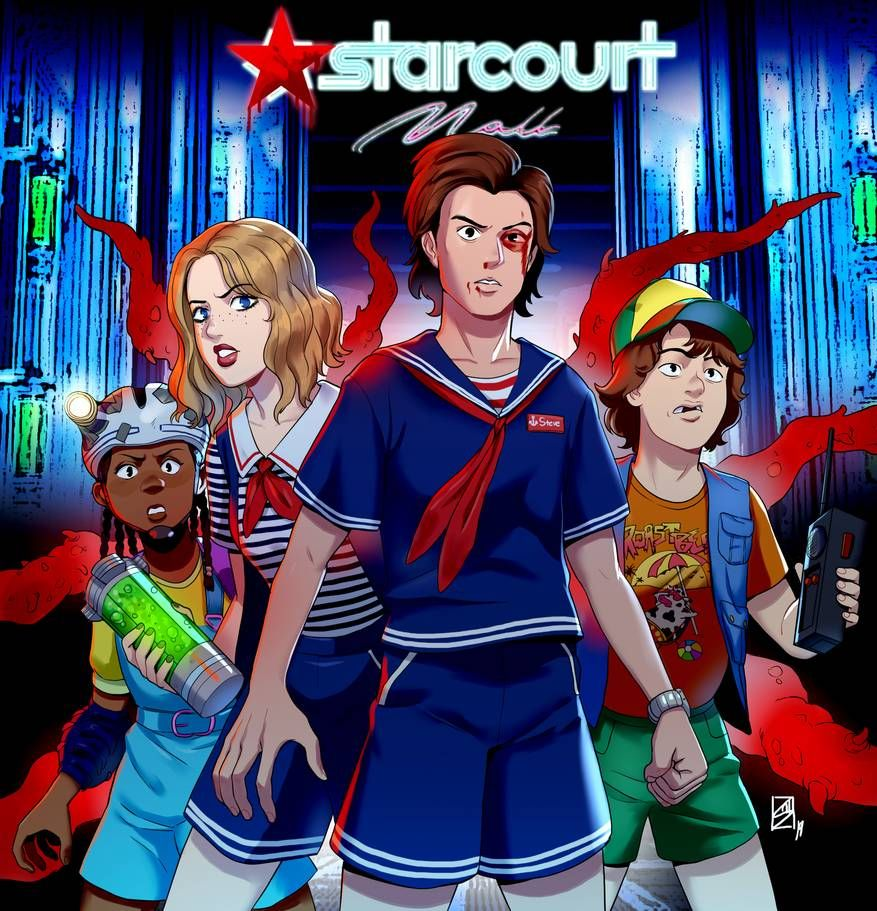 Stranger Things By Xod0 Scoops Troop Erica Robin Steve Dustin Starcourt Mall Scoops Ahoy Stranger Things Fanart Stranger Things Dustin Stranger Things