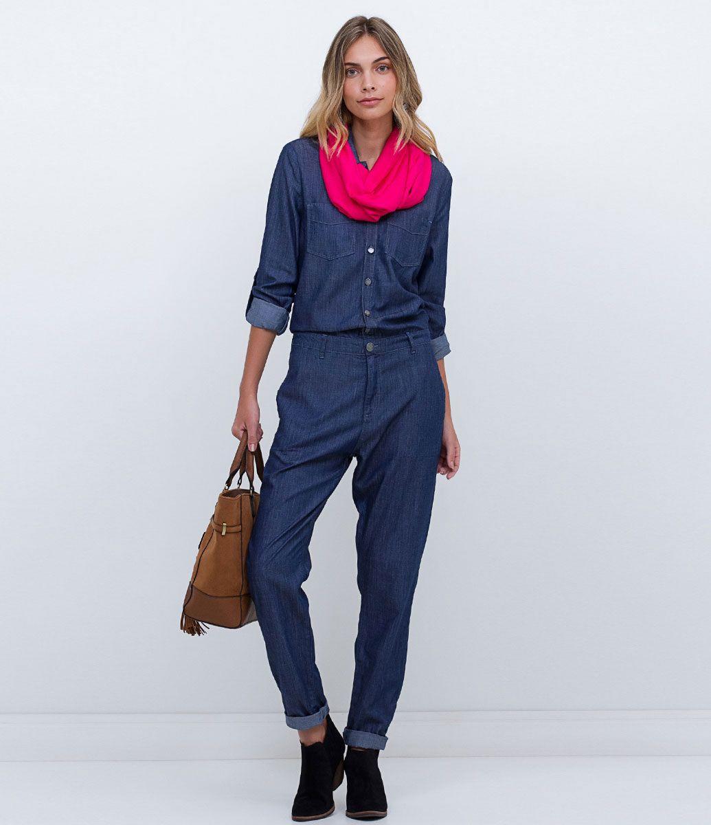 317b73a58 Macacão feminino Modelo longo Manga longa Marca  Blue Steel Tecido  jeans  Composição  67
