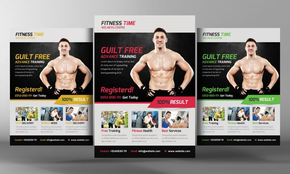 Body Building Flyer Template Psd   Fitness Flyer Template Psd