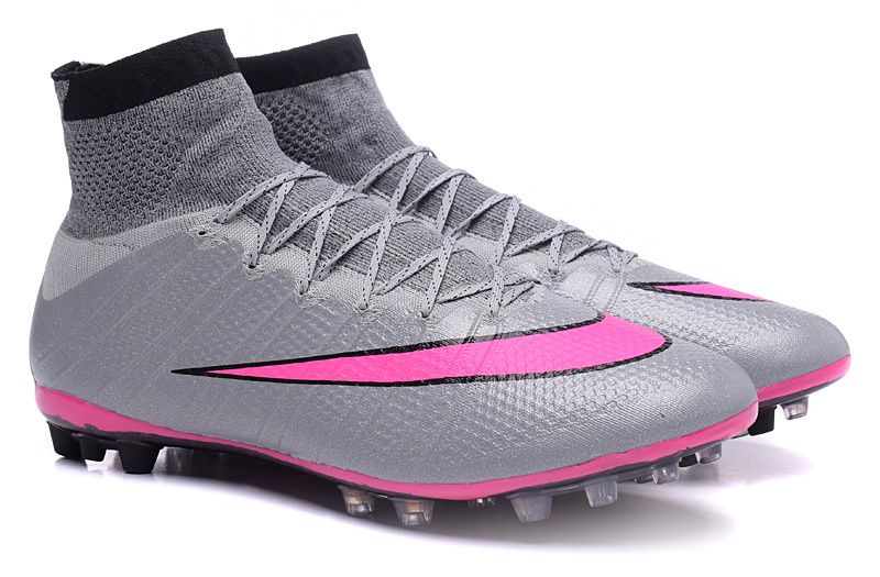 2015 Latest Nike Mercurial Superfly AG Soccer Boots Cleats silver pink black
