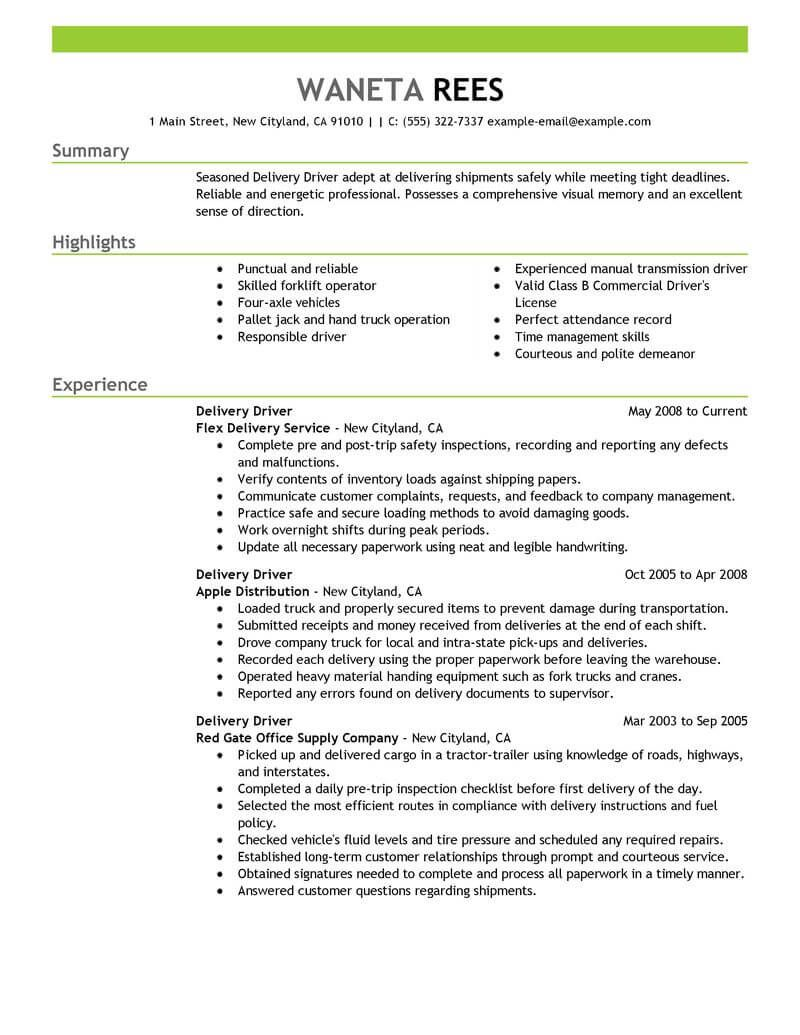 Driver Job Resume Examples Resume Examples Resume No Experience