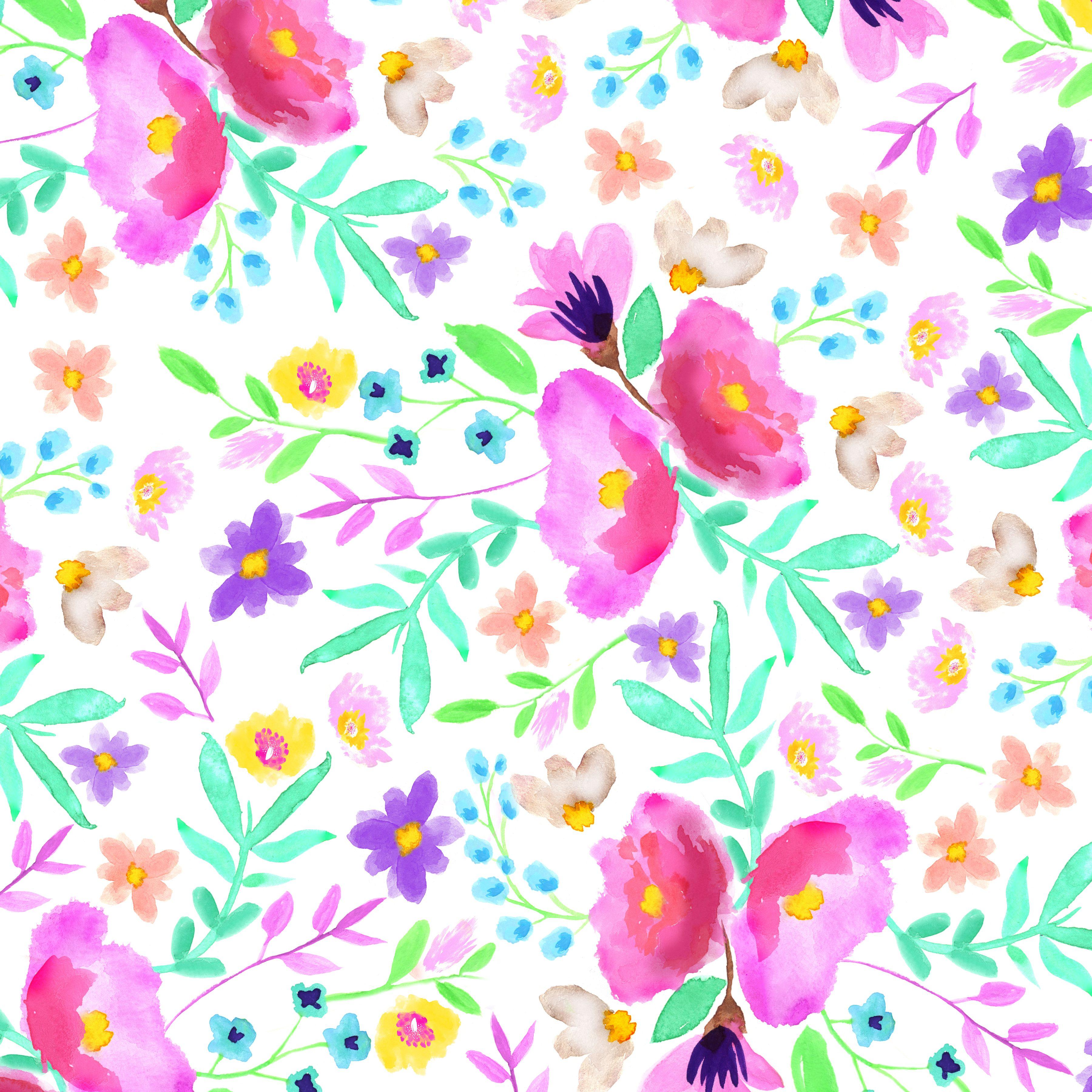 How to scrapbook flowers - Watercolor Flower Digital Scrapbooking Paper Fptfy 1 Jpg 3 600