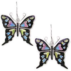 Purple Spotted Swallowtail Butterfly Earrings by Sue Coccia