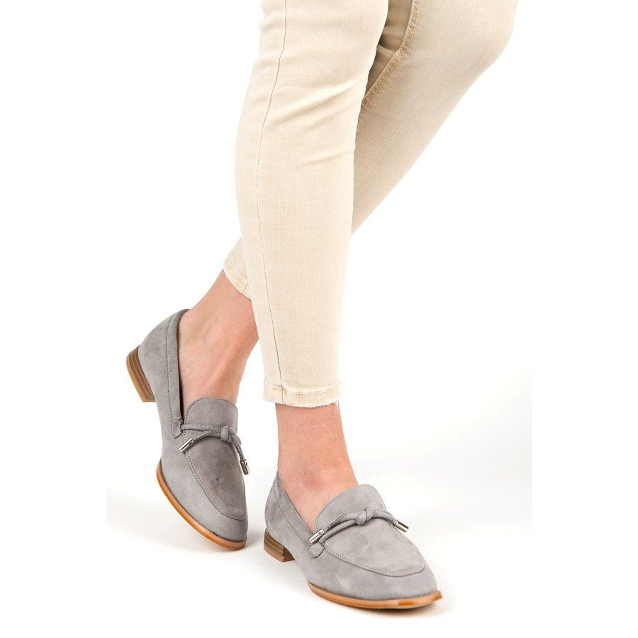 Vices Wiosenne Mokasyny Szare Shoes Slip On Sneaker Fashion